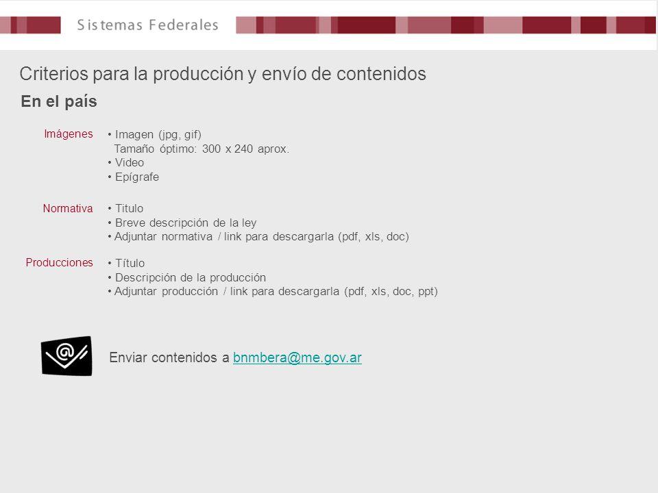 Criterios para la producción y envío de contenidos En el país Imagen (jpg, gif) Tamaño óptimo: 300 x 240 aprox. Video Epígrafe Imágenes Titulo Breve d
