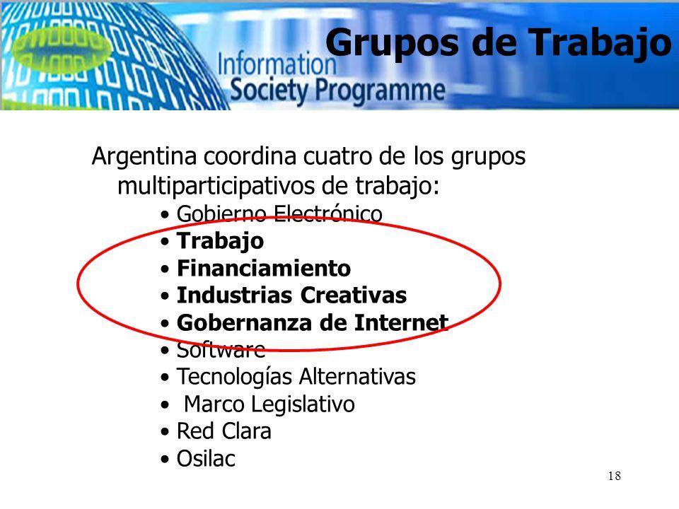 18 Grupos de Trabajo Argentina coordina cuatro de los grupos multiparticipativos de trabajo: Gobierno Electrónico Trabajo Financiamiento Industrias Creativas Gobernanza de Internet Software Tecnologías Alternativas Marco Legislativo Red Clara Osilac