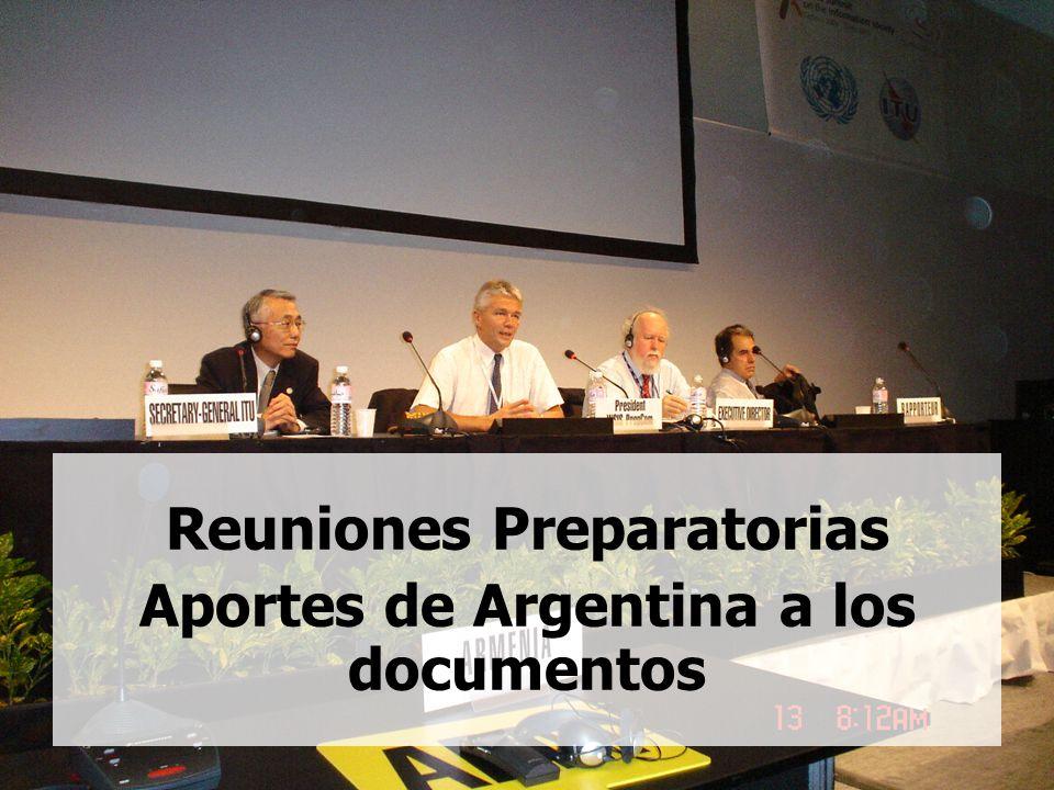 2 Reuniones Preparatorias Aportes de Argentina a los documentos