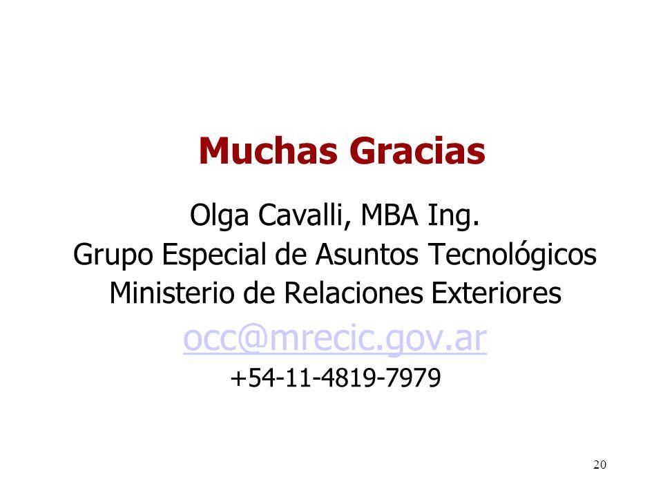 20 Muchas Gracias Olga Cavalli, MBA Ing.