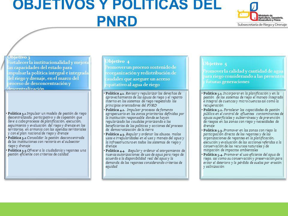 Objetivo 3 Fortalecer la institucionalidad y mejorar las capacidades del estado para impulsar la política integral e integrada del riego y drenaje, en