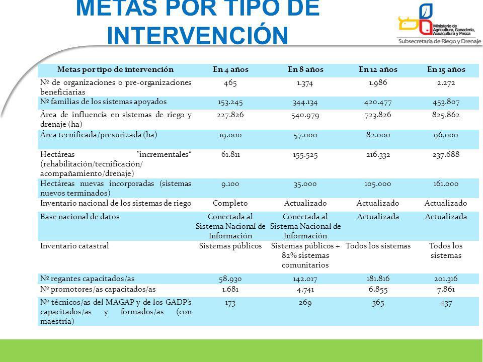 METAS POR TIPO DE INTERVENCIÓN Metas por tipo de intervenciónEn 4 añosEn 8 añosEn 12 añosEn 15 años Nº de organizaciones o pre-organizaciones benefici