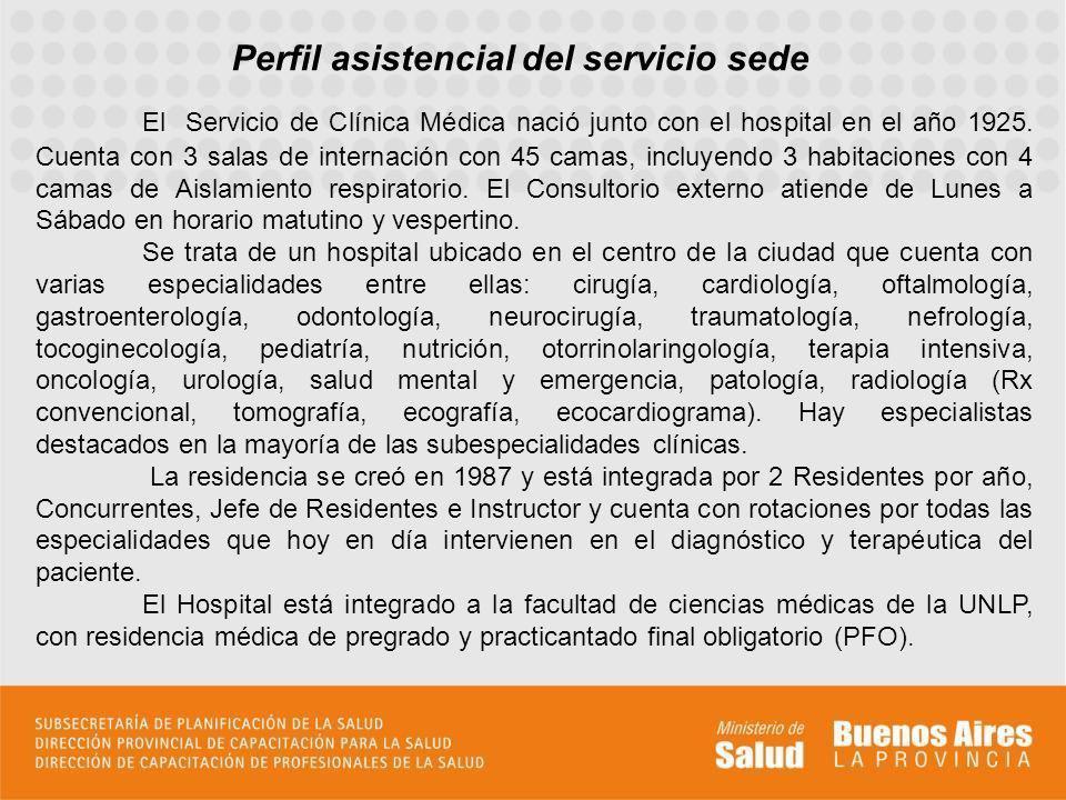 El Servicio de Clínica Médica nació junto con el hospital en el año 1925. Cuenta con 3 salas de internación con 45 camas, incluyendo 3 habitaciones co