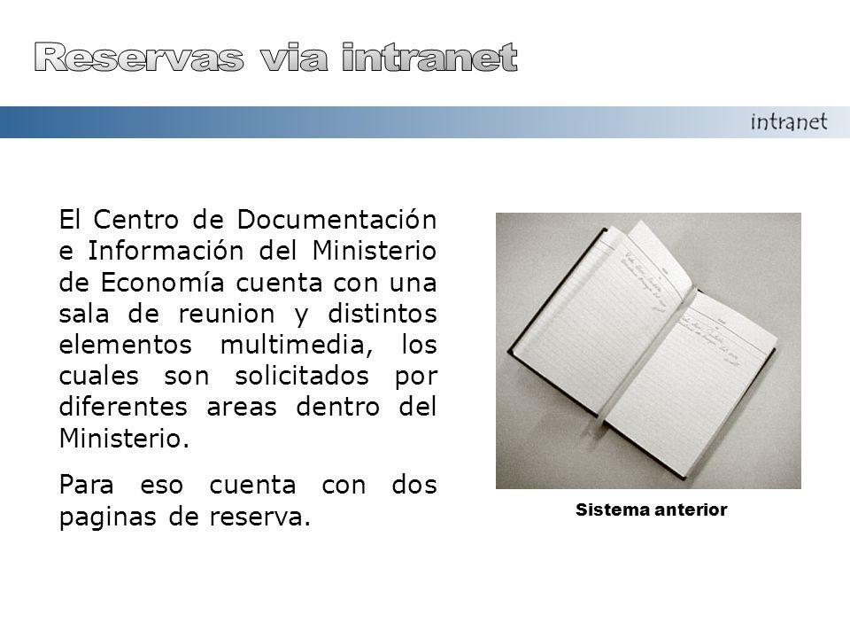 El Centro de Documentación e Información del Ministerio de Economía cuenta con una sala de reunion y distintos elementos multimedia, los cuales son solicitados por diferentes areas dentro del Ministerio.