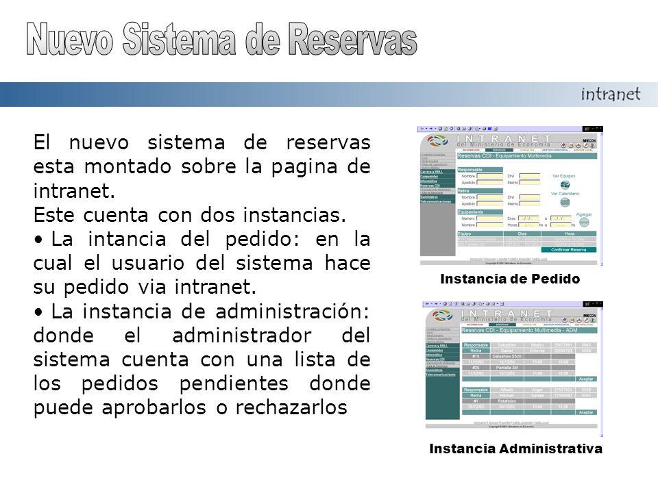 Instancia de Pedido Instancia Administrativa El nuevo sistema de reservas esta montado sobre la pagina de intranet.