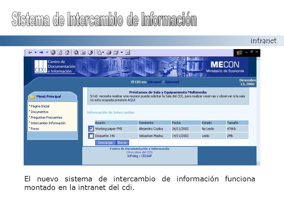 El nuevo sistema de intercambio de información funciona montado en la intranet del cdi.