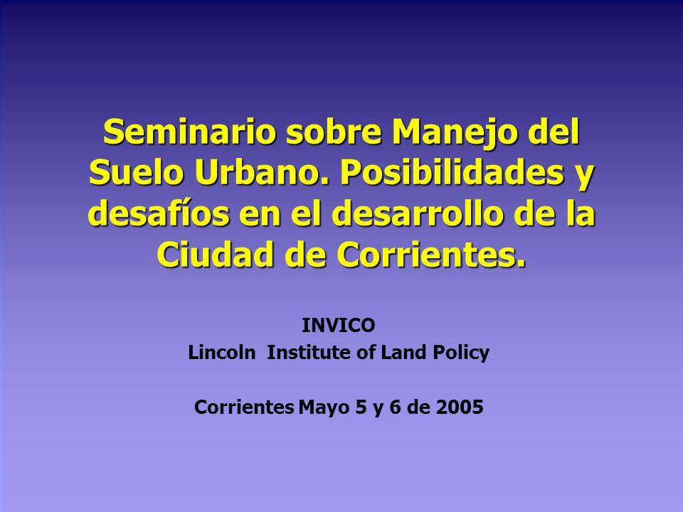 Seminario sobre Manejo del Suelo Urbano.