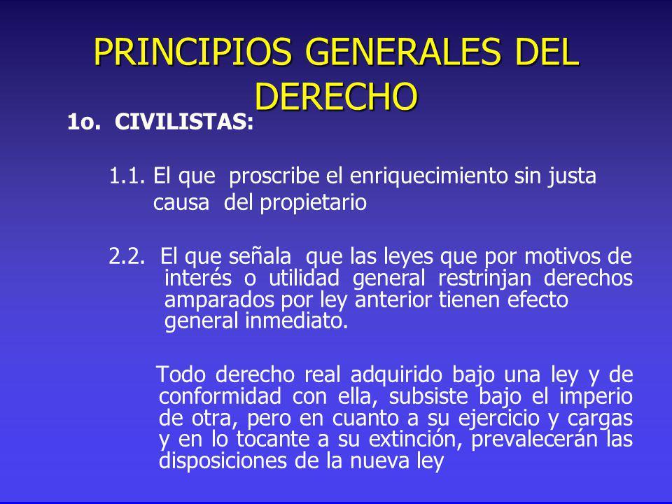 PRINCIPIOS GENERALES DEL DERECHO 1o. CIVILISTAS: 1.1.
