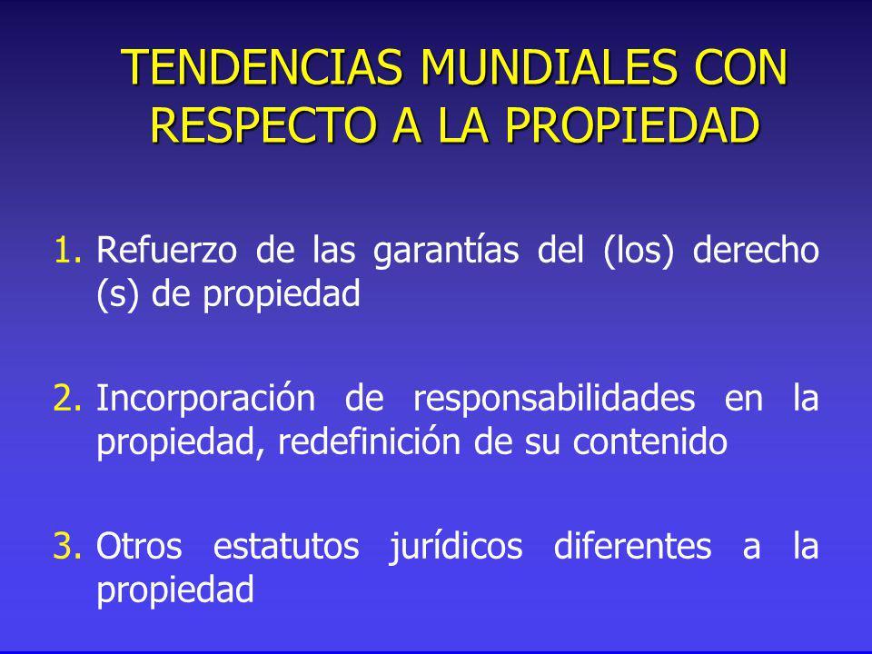 1.Refuerzo de las garantías del (los) derecho (s) de propiedad 2.Incorporación de responsabilidades en la propiedad, redefinición de su contenido 3.Otros estatutos jurídicos diferentes a la propiedad TENDENCIAS MUNDIALES CON RESPECTO A LA PROPIEDAD