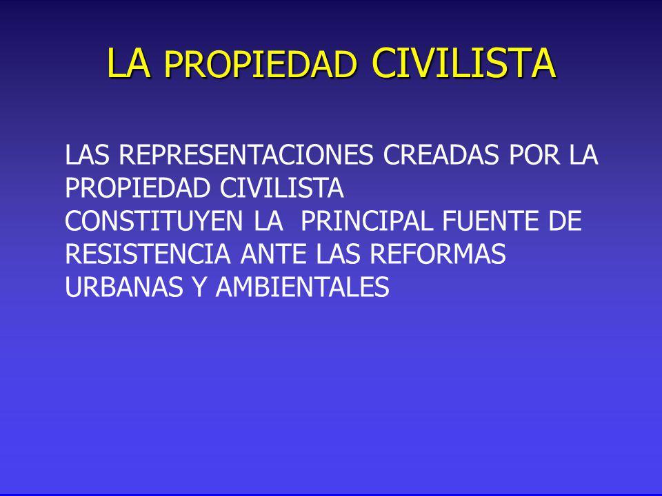 LA PROPIEDAD CIVILISTA LAS REPRESENTACIONES CREADAS POR LA PROPIEDAD CIVILISTA CONSTITUYEN LA PRINCIPAL FUENTE DE RESISTENCIA ANTE LAS REFORMAS URBANAS Y AMBIENTALES