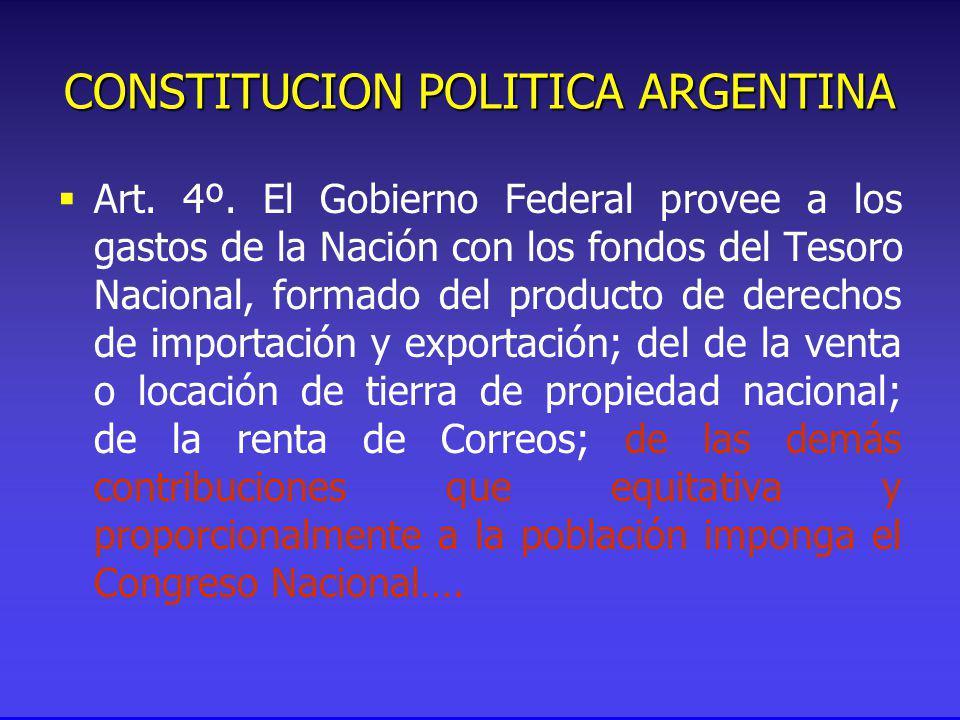 CONSTITUCION POLITICA ARGENTINA Art. 4º.