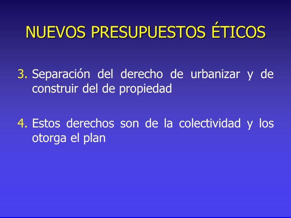 NUEVOS PRESUPUESTOS ÉTICOS 3.Separación del derecho de urbanizar y de construir del de propiedad 4.Estos derechos son de la colectividad y los otorga el plan