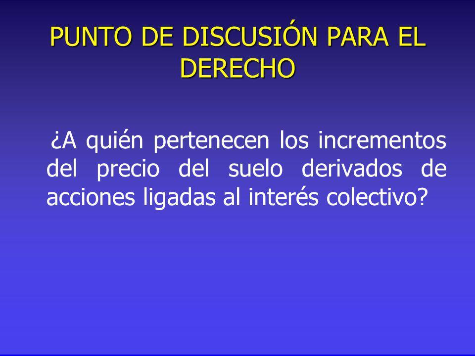 PUNTO DE DISCUSIÓN PARA EL DERECHO ¿A quién pertenecen los incrementos del precio del suelo derivados de acciones ligadas al interés colectivo