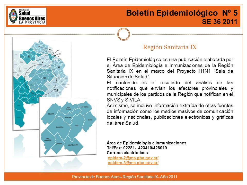 Provincia de Buenos Aires- Región Sanitaria IX- Año 2011 Boletín Epidemiológico Nº 5 SE 36 2011 Región Sanitaria IX El Boletín Epidemiológico es una publicación elaborada por el Área de Epidemiología e Inmunizaciones de la Región Sanitaria IX en el marco del Proyecto H1N1 Sala de Situación de Salud.