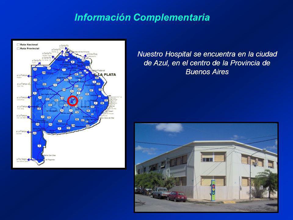 Información Complementaria Nuestro Hospital se encuentra en la ciudad de Azul, en el centro de la Provincia de Buenos Aires