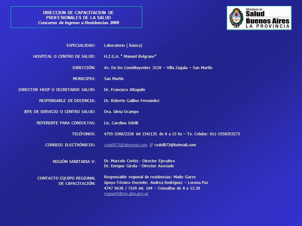 ESPECIALIDAD: HOSPITAL O CENTRO DE SALUD: DIRECCIÓN: MUNICIPIO: DIRECTOR HOSP O SECRETARIO SALUD: RESPONSABLE DE DOCENCIA: JEFE DE SERVICIO O CENTRO S