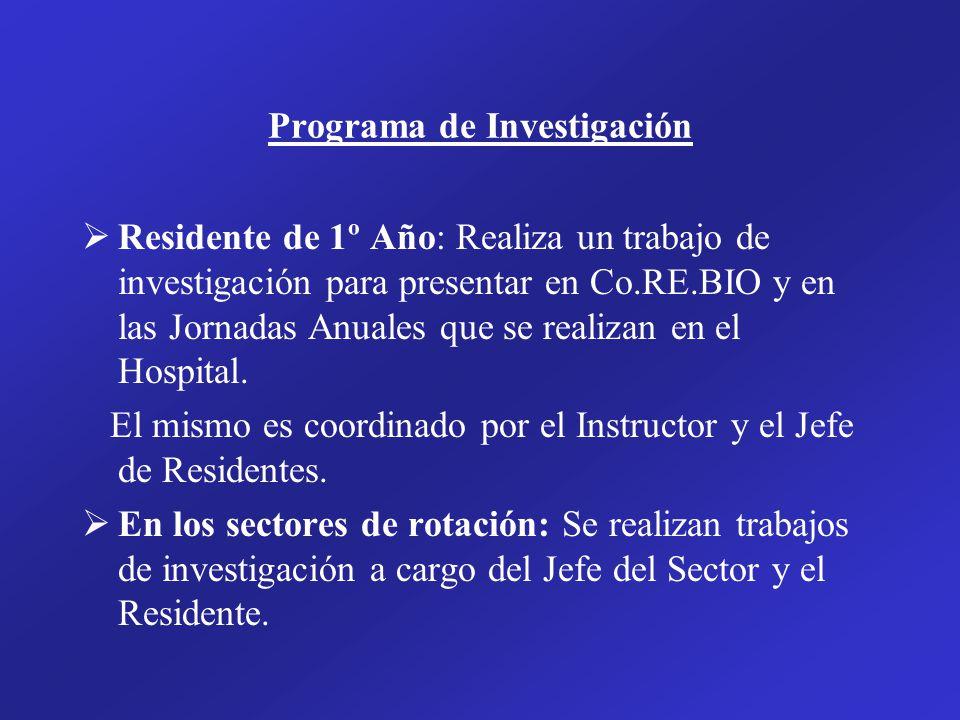 Programa de Investigación Residente de 1º Año: Realiza un trabajo de investigación para presentar en Co.RE.BIO y en las Jornadas Anuales que se realizan en el Hospital.