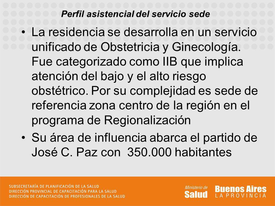 Perfil asistencial del servicio sede La residencia se desarrolla en un servicio unificado de Obstetricia y Ginecología. Fue categorizado como IIB que