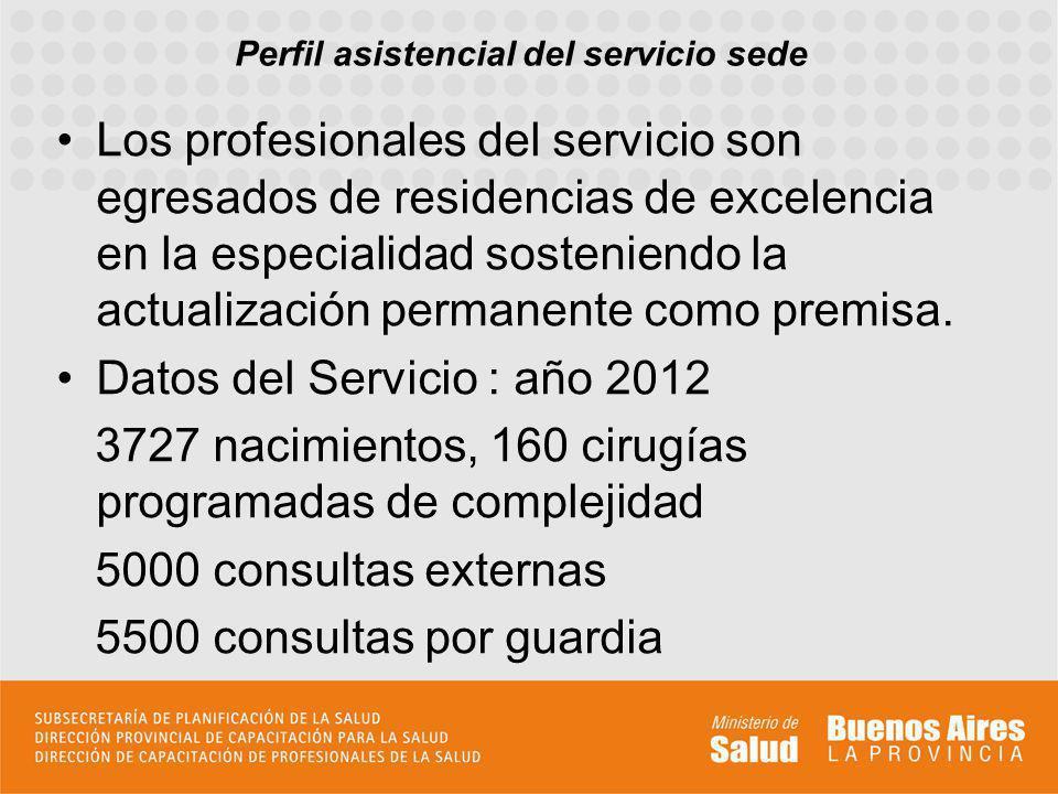 Perfil asistencial del servicio sede Los profesionales del servicio son egresados de residencias de excelencia en la especialidad sosteniendo la actua
