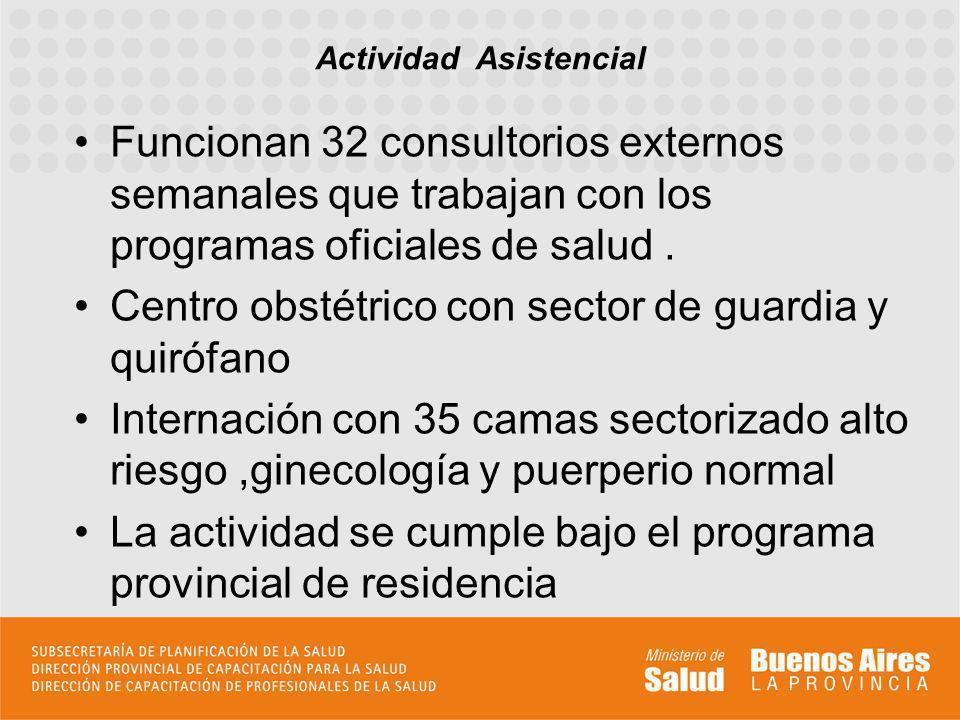 Funcionan 32 consultorios externos semanales que trabajan con los programas oficiales de salud.