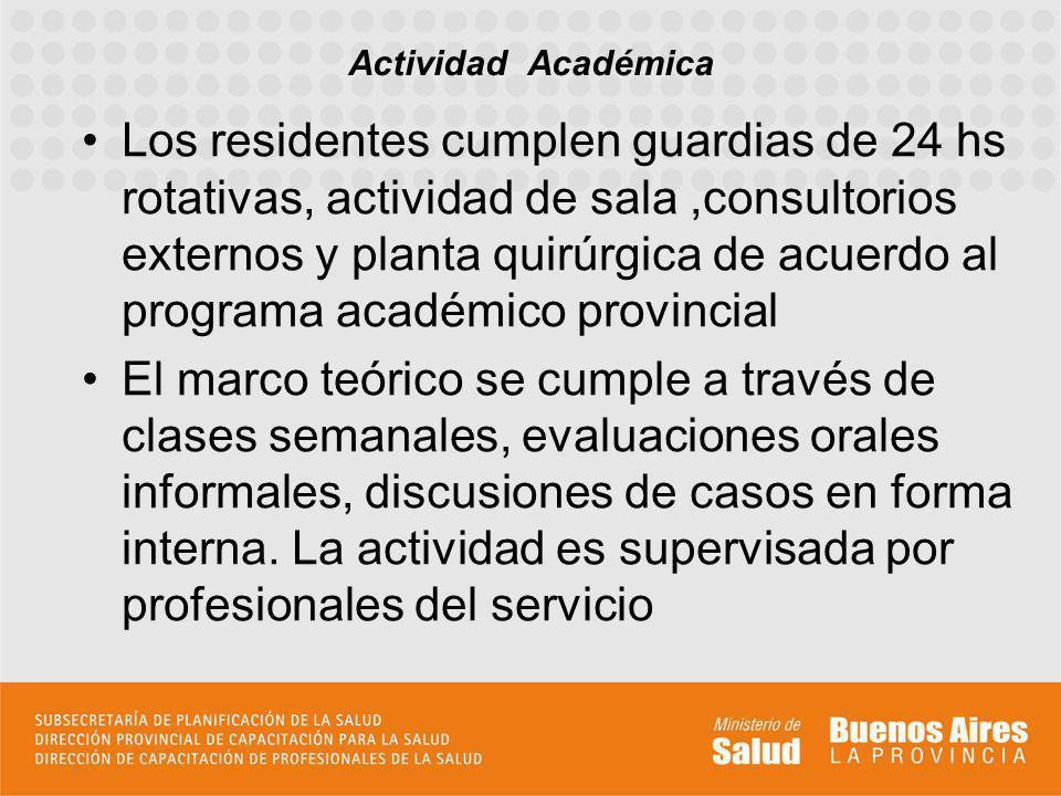 Los residentes cumplen guardias de 24 hs rotativas, actividad de sala,consultorios externos y planta quirúrgica de acuerdo al programa académico provi