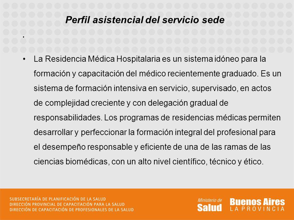 Perfil asistencial del servicio sede La Residencia Médica Hospitalaria es un sistema idóneo para la formación y capacitación del médico recientemente graduado.