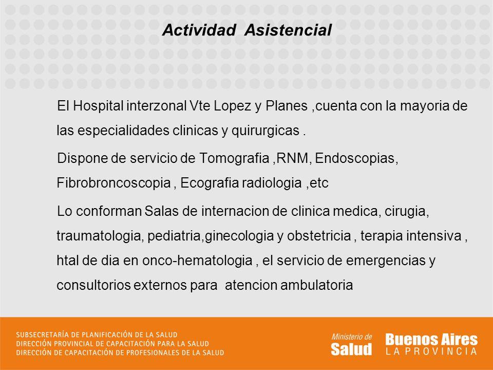 El Hospital interzonal Vte Lopez y Planes,cuenta con la mayoria de las especialidades clinicas y quirurgicas. Dispone de servicio de Tomografia,RNM, E