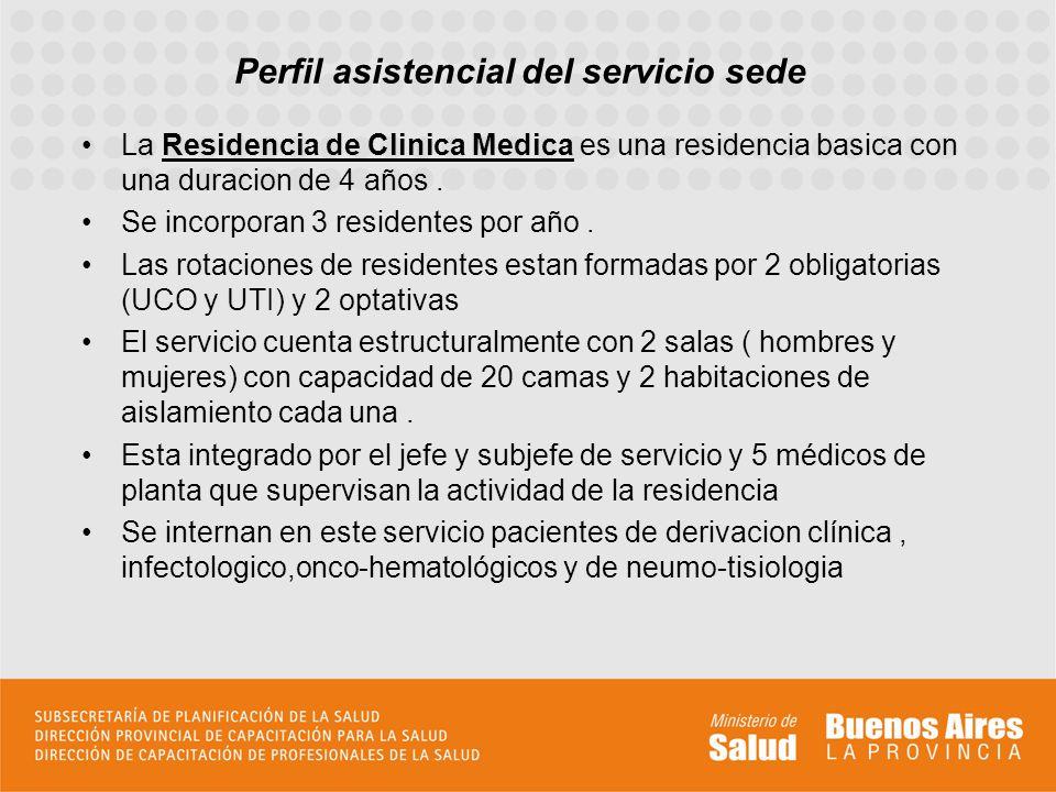 Perfil asistencial del servicio sede La Residencia de Clinica Medica es una residencia basica con una duracion de 4 años. Se incorporan 3 residentes p