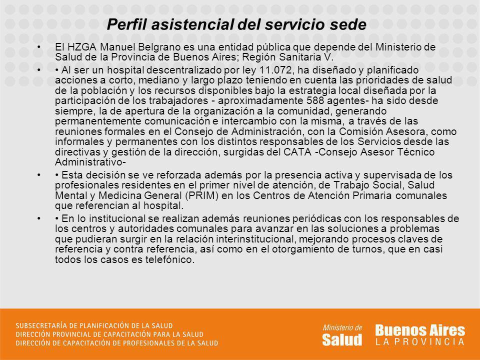 Perfil asistencial del servicio sede El HZGA Manuel Belgrano es una entidad pública que depende del Ministerio de Salud de la Provincia de Buenos Aires; Región Sanitaria V.