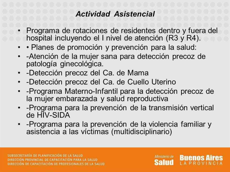 Programa de rotaciones de residentes dentro y fuera del hospital incluyendo el I nivel de atención (R3 y R4).