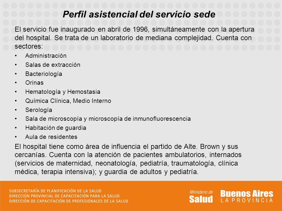 Perfil asistencial del servicio sede El servicio fue inaugurado en abril de 1996, simultáneamente con la apertura del hospital. Se trata de un laborat
