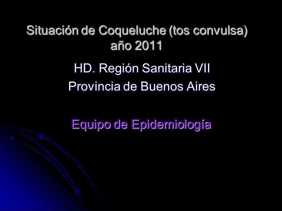 Situación de Coqueluche (tos convulsa) año 2011 HD. Región Sanitaria VII Provincia de Buenos Aires Equipo de Epidemiología