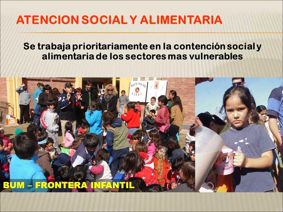 Se trabaja prioritariamente en la contención social y alimentaria de los sectores mas vulnerables ATENCION SOCIAL Y ALIMENTARIA BUM – FRONTERA INFANTIL