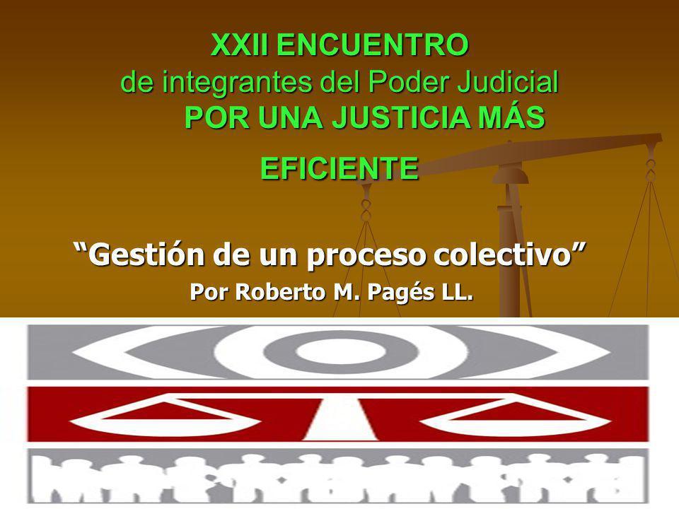 XXII ENCUENTRO de integrantes del Poder Judicial POR UNA JUSTICIA MÁS EFICIENTE Gestión de un proceso colectivo Gestión de un proceso colectivo Por Roberto M.