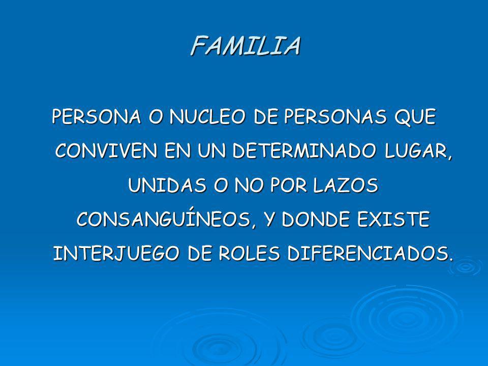 FAMILIA PERSONA O NUCLEO DE PERSONAS QUE CONVIVEN EN UN DETERMINADO LUGAR, UNIDAS O NO POR LAZOS CONSANGUÍNEOS, Y DONDE EXISTE INTERJUEGO DE ROLES DIFERENCIADOS.
