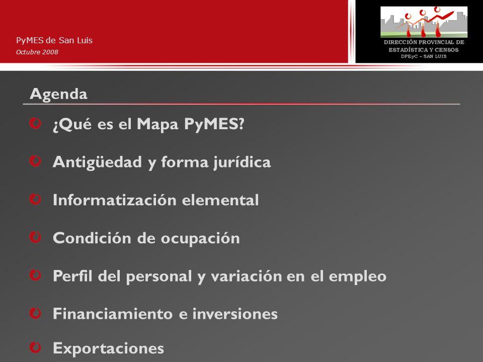 Agenda PyMES de San Luis Octubre 2008 ¿Qué es el Mapa PyMES? Antigüedad y forma jurídica Informatización elemental Condición de ocupación Perfil del p