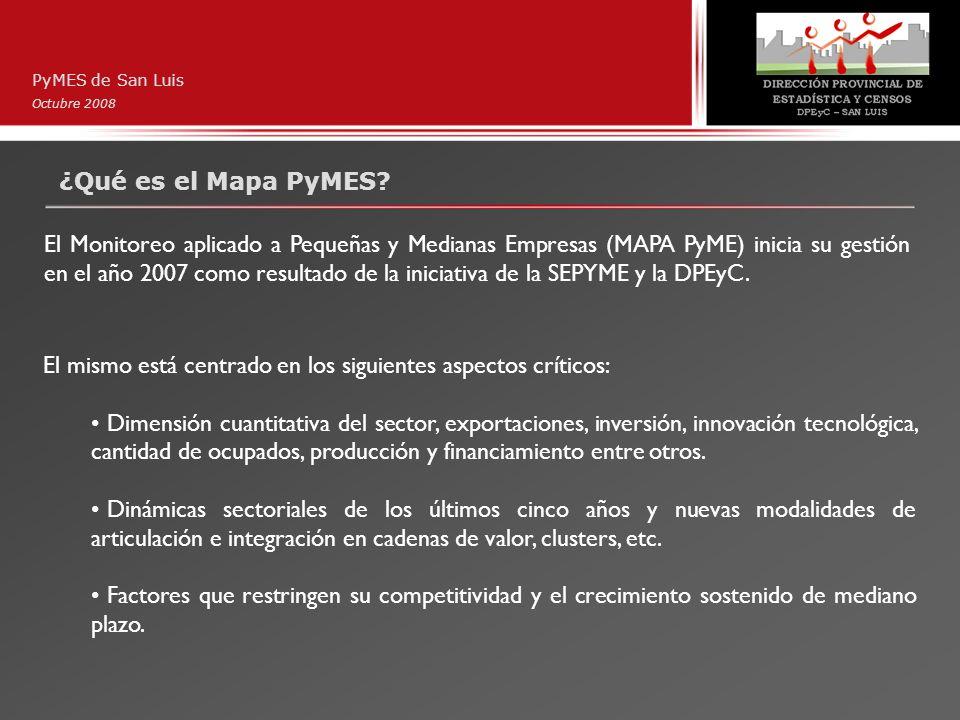 ¿Qué es el Mapa PyMES? PyMES de San Luis Octubre 2008 El Monitoreo aplicado a Pequeñas y Medianas Empresas (MAPA PyME) inicia su gestión en el año 200