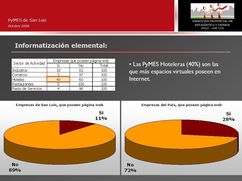 Informatización elemental: PyMES de San Luis Octubre 2008 Las PyMES Hoteleras (40%) son las que más espacios virtuales poseen en Internet.