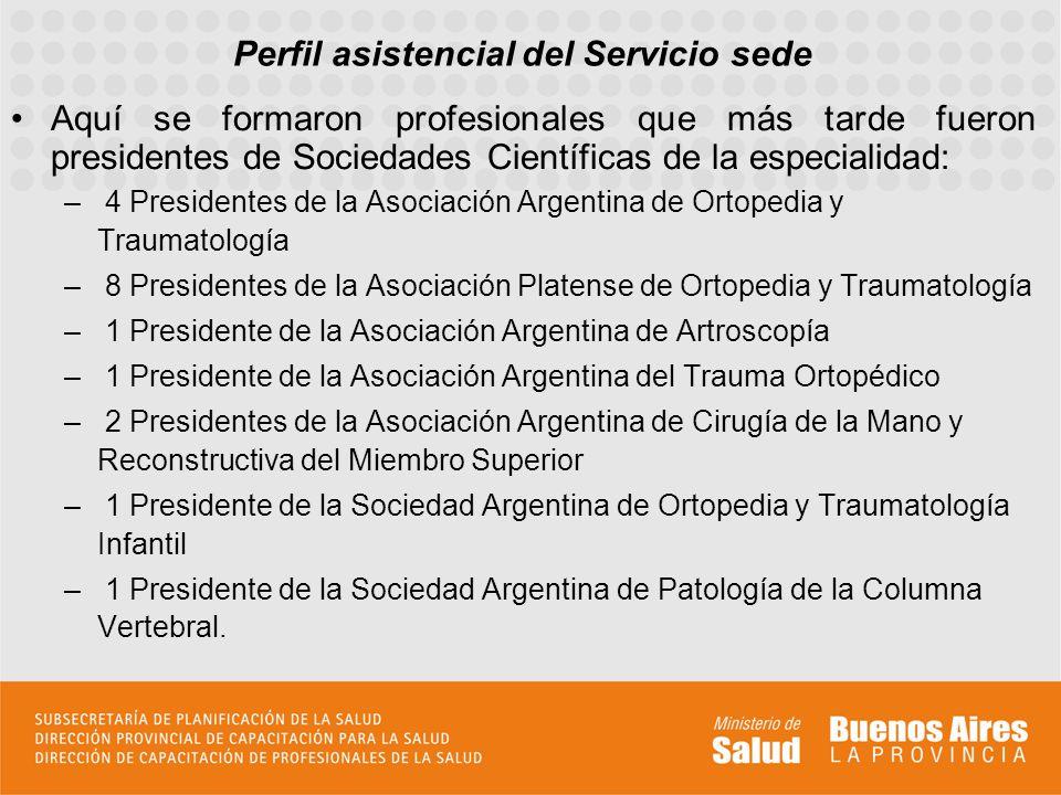 Perfil asistencial del Servicio sede Aquí se formaron profesionales que más tarde fueron presidentes de Sociedades Científicas de la especialidad: – 4 Presidentes de la Asociación Argentina de Ortopedia y Traumatología – 8 Presidentes de la Asociación Platense de Ortopedia y Traumatología – 1 Presidente de la Asociación Argentina de Artroscopía – 1 Presidente de la Asociación Argentina del Trauma Ortopédico – 2 Presidentes de la Asociación Argentina de Cirugía de la Mano y Reconstructiva del Miembro Superior – 1 Presidente de la Sociedad Argentina de Ortopedia y Traumatología Infantil – 1 Presidente de la Sociedad Argentina de Patología de la Columna Vertebral.