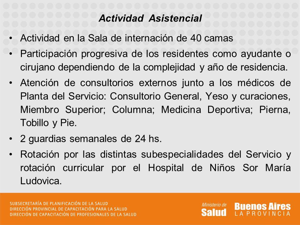 Actividad en la Sala de internación de 40 camas Participación progresiva de los residentes como ayudante o cirujano dependiendo de la complejidad y año de residencia.