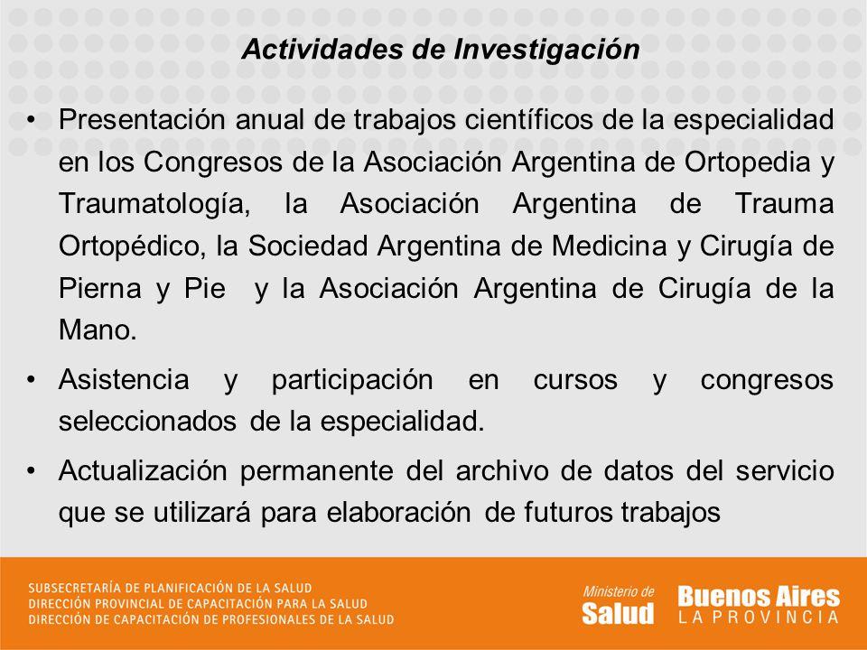 Presentación anual de trabajos científicos de la especialidad en los Congresos de la Asociación Argentina de Ortopedia y Traumatología, la Asociación Argentina de Trauma Ortopédico, la Sociedad Argentina de Medicina y Cirugía de Pierna y Pie y la Asociación Argentina de Cirugía de la Mano.