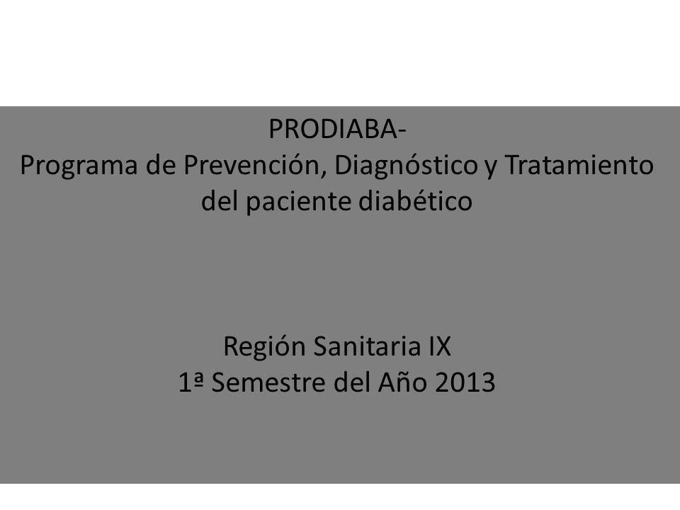 PRODIABA- Programa de Prevención, Diagnóstico y Tratamiento del paciente diabético Región Sanitaria IX 1ª Semestre del Año 2013
