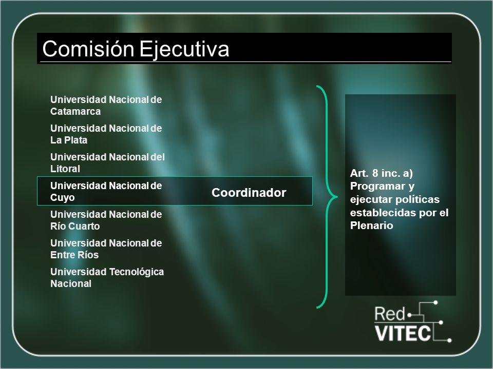 Comisión Ejecutiva Coordinador Art. 8 inc. a) Programar y ejecutar políticas establecidas por el Plenario Universidad Nacional de Catamarca Universida