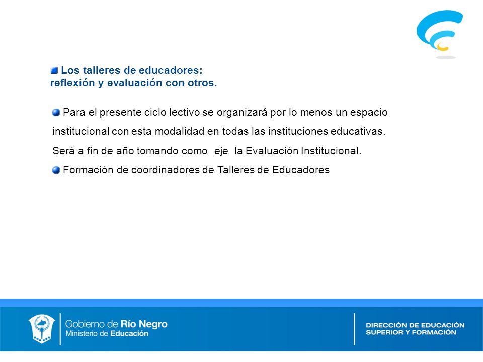 Los talleres de educadores: reflexión y evaluación con otros.
