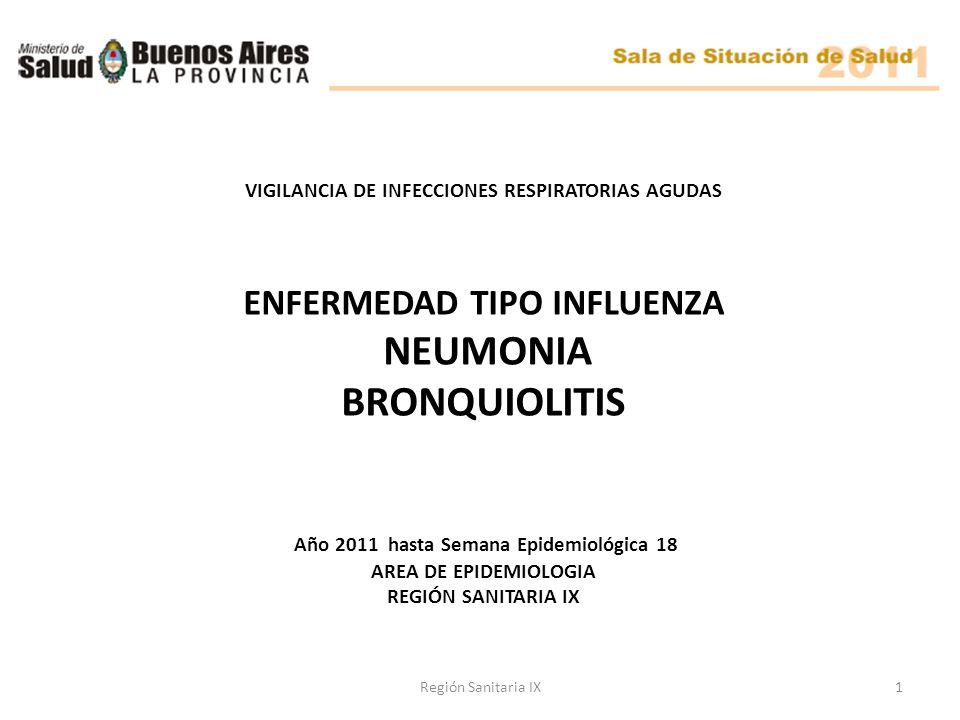 VIGILANCIA DE INFECCIONES RESPIRATORIAS AGUDAS ENFERMEDAD TIPO INFLUENZA NEUMONIA BRONQUIOLITIS Año 2011 hasta Semana Epidemiológica 18 AREA DE EPIDEMIOLOGIA REGIÓN SANITARIA IX 1Región Sanitaria IX