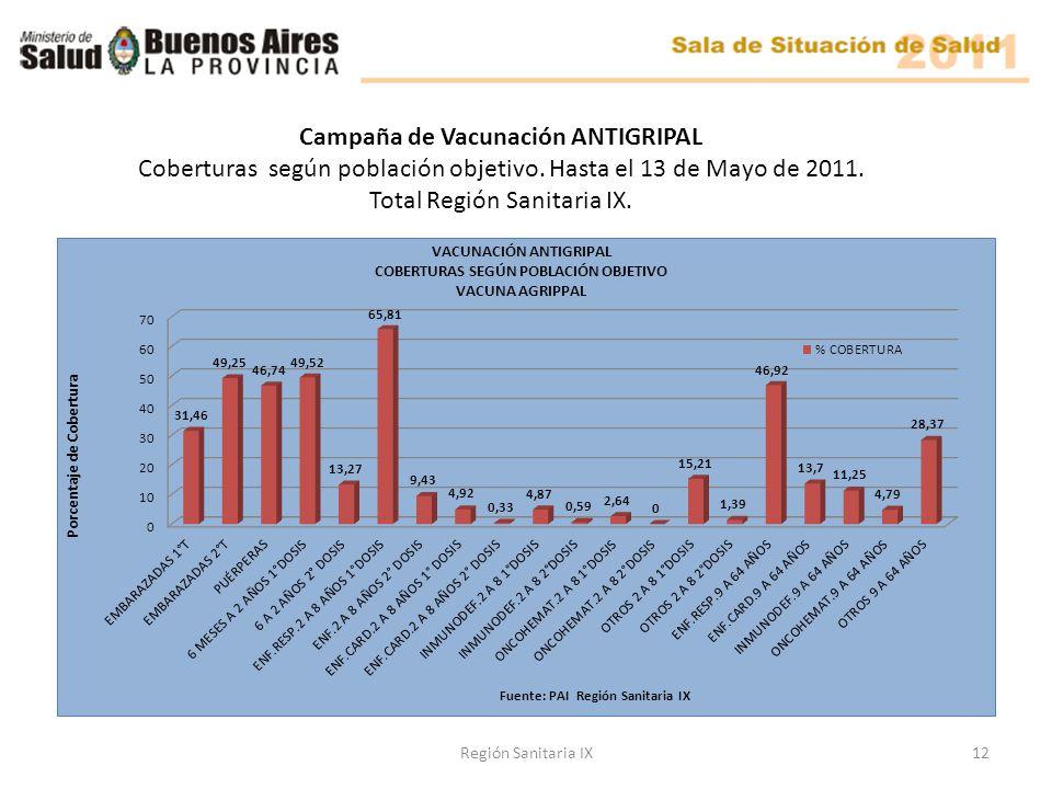 Región Sanitaria IX12 Campaña de Vacunación ANTIGRIPAL Coberturas según población objetivo.