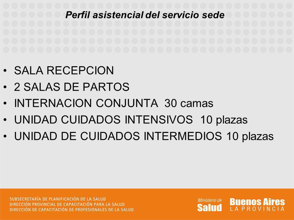 Perfil asistencial del servicio sede SALA RECEPCION 2 SALAS DE PARTOS INTERNACION CONJUNTA 30 camas UNIDAD CUIDADOS INTENSIVOS 10 plazas UNIDAD DE CUI