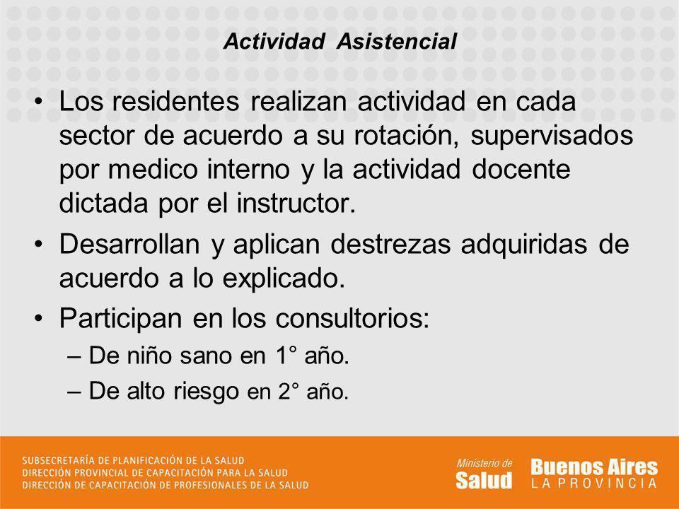 Los residentes realizan actividad en cada sector de acuerdo a su rotación, supervisados por medico interno y la actividad docente dictada por el instr