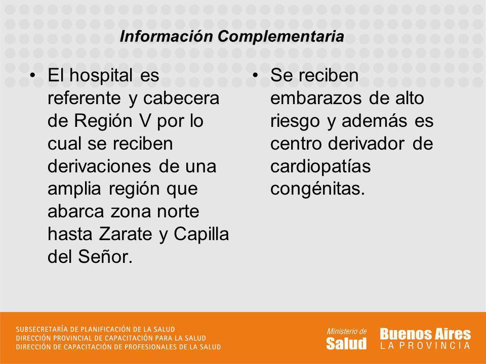 El hospital es referente y cabecera de Región V por lo cual se reciben derivaciones de una amplia región que abarca zona norte hasta Zarate y Capilla