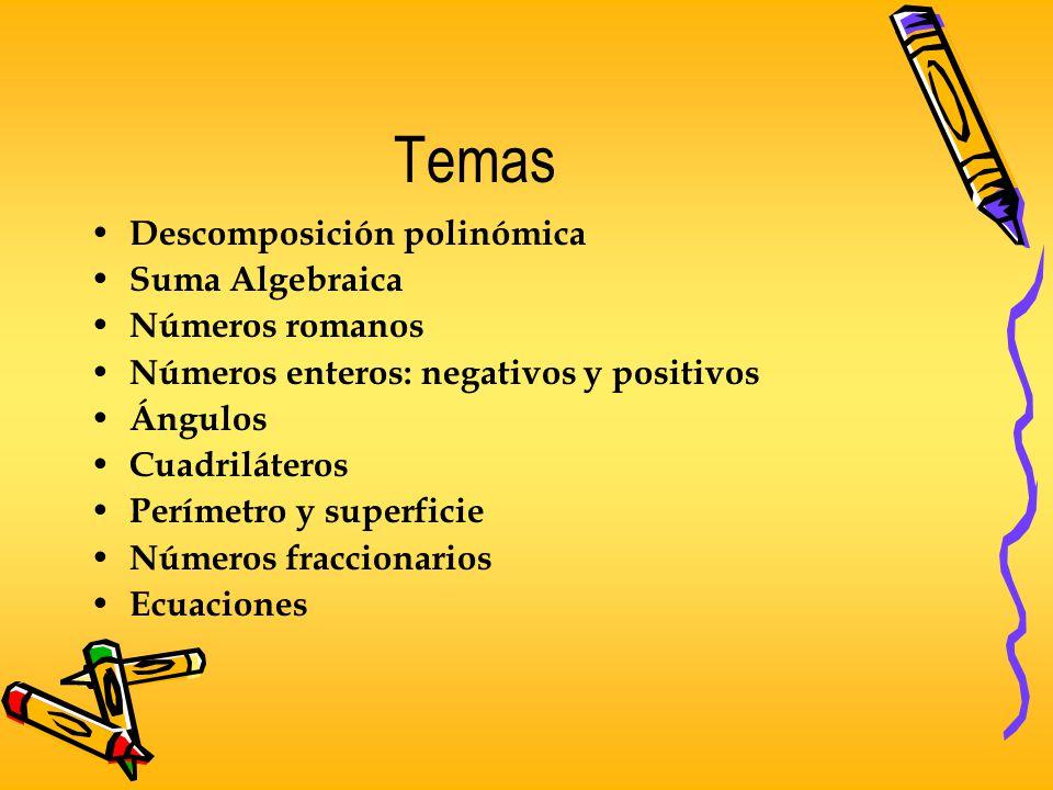 Temas Descomposición polinómica Suma Algebraica Números romanos Números enteros: negativos y positivos Ángulos Cuadriláteros Perímetro y superficie Nú